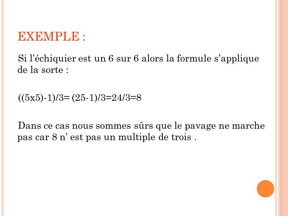 EXEMPLE : Si l'échiquier est un 6 sur 6 alors la formule s'applique de la sorte : ((5x5)-1)/3= (25-1)/3=24/3=8.