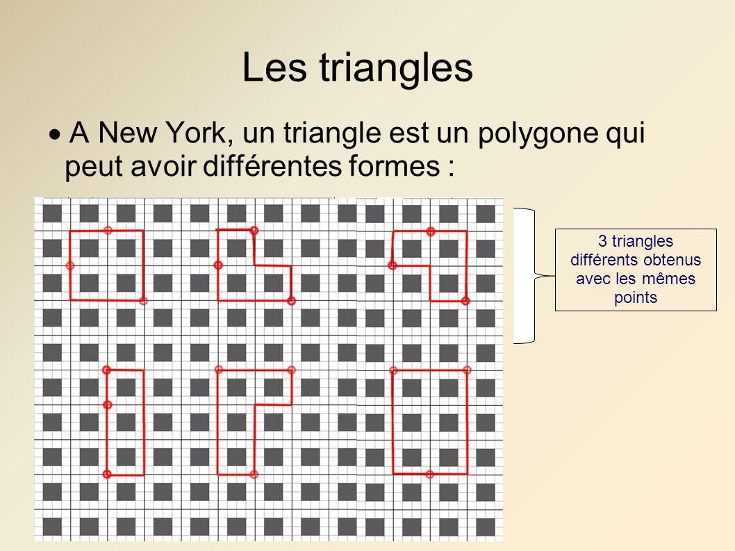 3 triangles différents obtenus avec les mêmes points