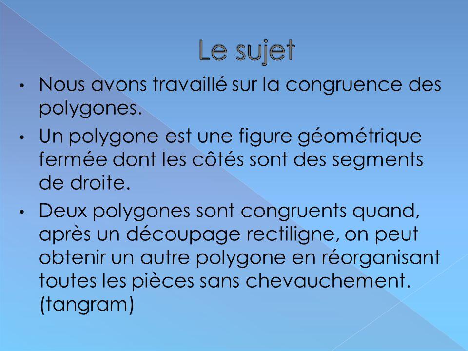 Le sujet Nous avons travaillé sur la congruence des polygones.
