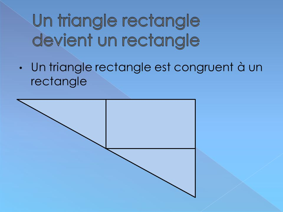 Un triangle rectangle devient un rectangle