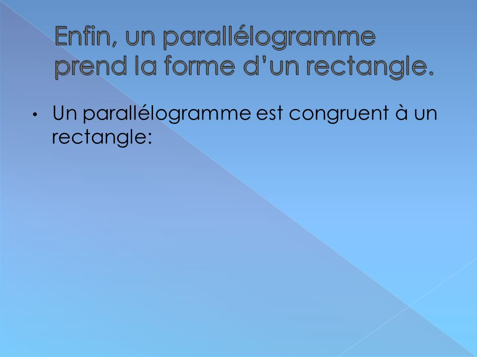 Enfin, un parallélogramme prend la forme d'un rectangle.