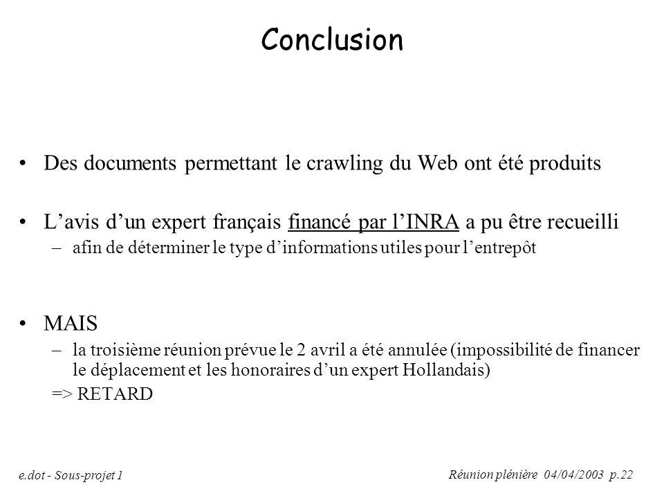 Conclusion Des documents permettant le crawling du Web ont été produits. L'avis d'un expert français financé par l'INRA a pu être recueilli.