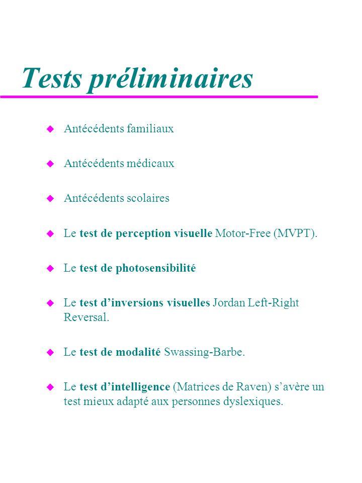 Tests préliminaires Antécédents familiaux Antécédents médicaux