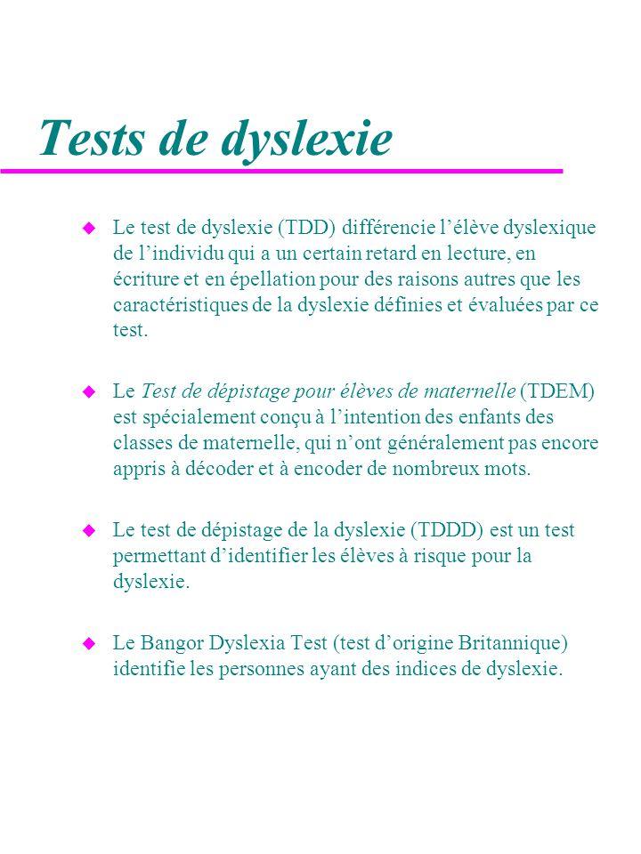 Tests de dyslexie