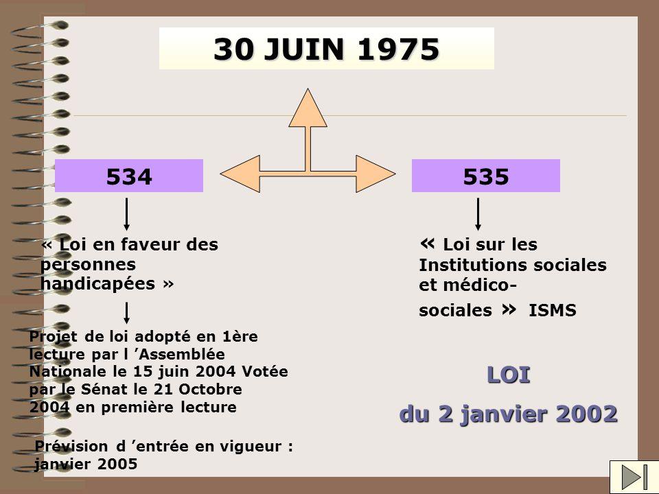 30 JUIN 1975 534. 535. « Loi sur les Institutions sociales et médico-sociales » « Loi en faveur des personnes handicapées »