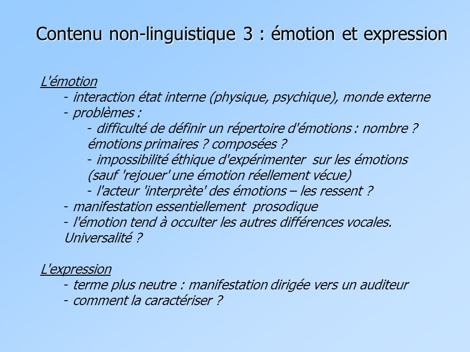 Contenu non-linguistique 3 : émotion et expression