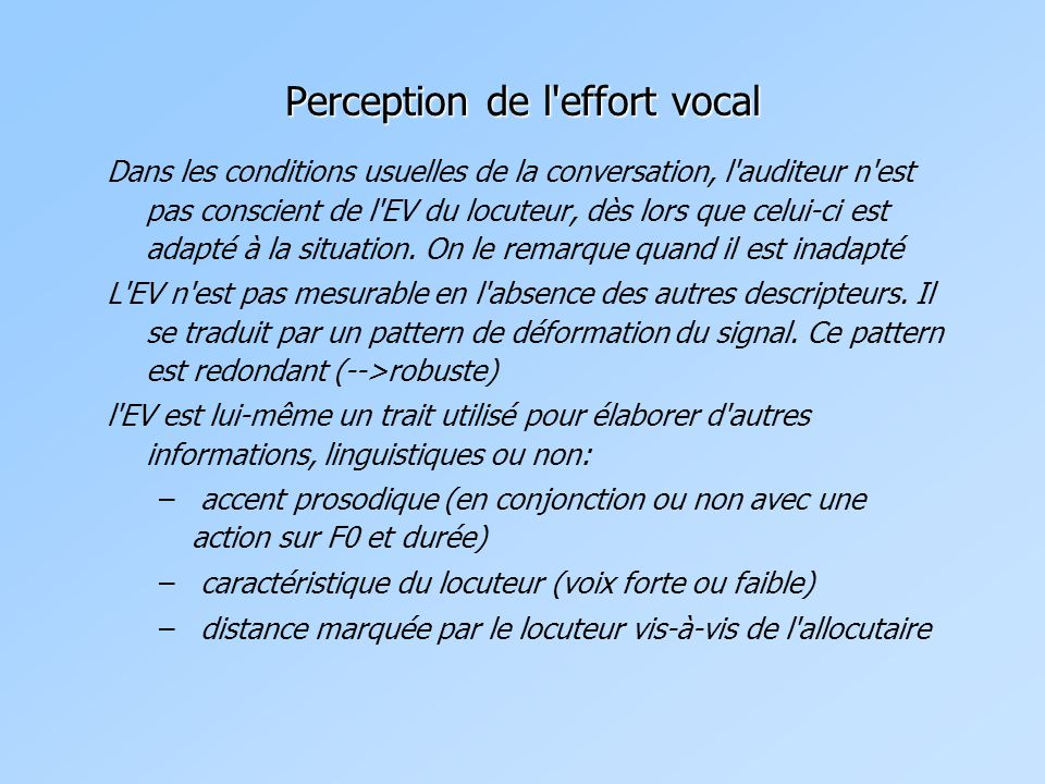 Perception de l effort vocal