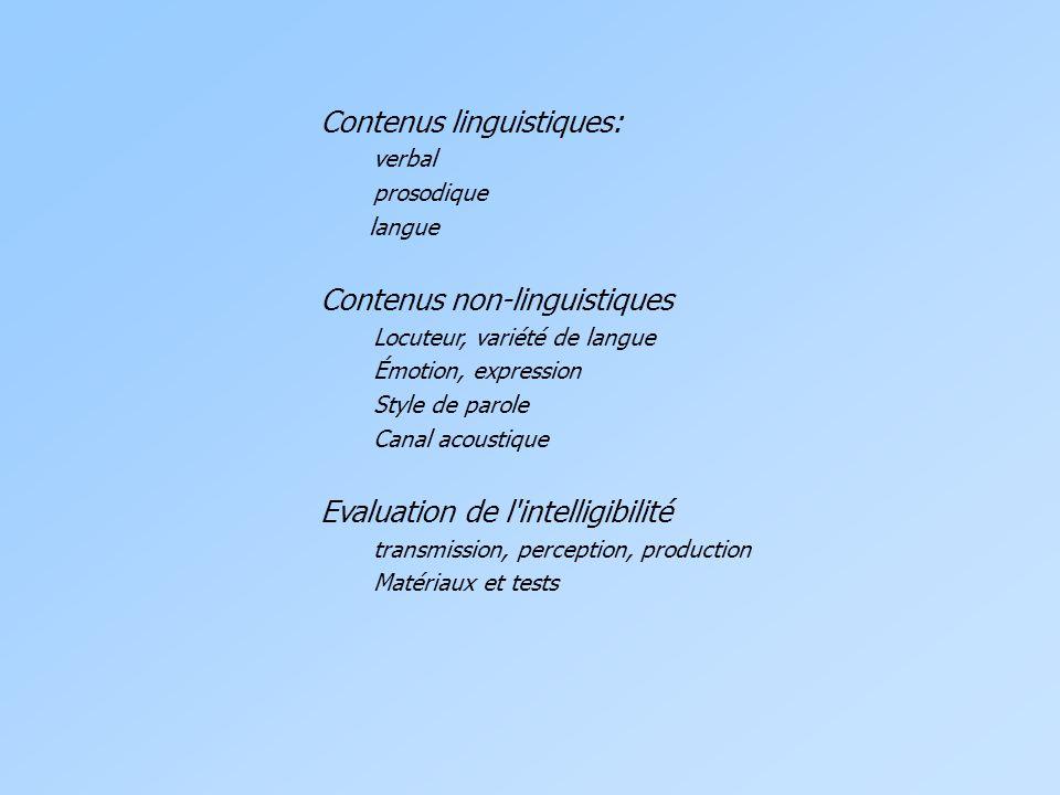 Contenus linguistiques: