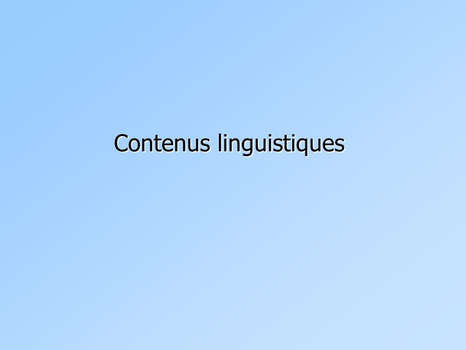 Contenus linguistiques