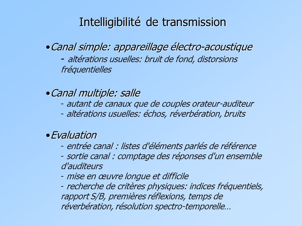 Intelligibilité de transmission