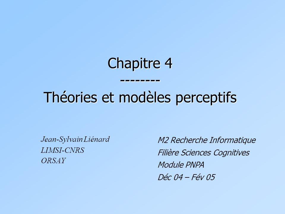 Chapitre 4 -------- Théories et modèles perceptifs