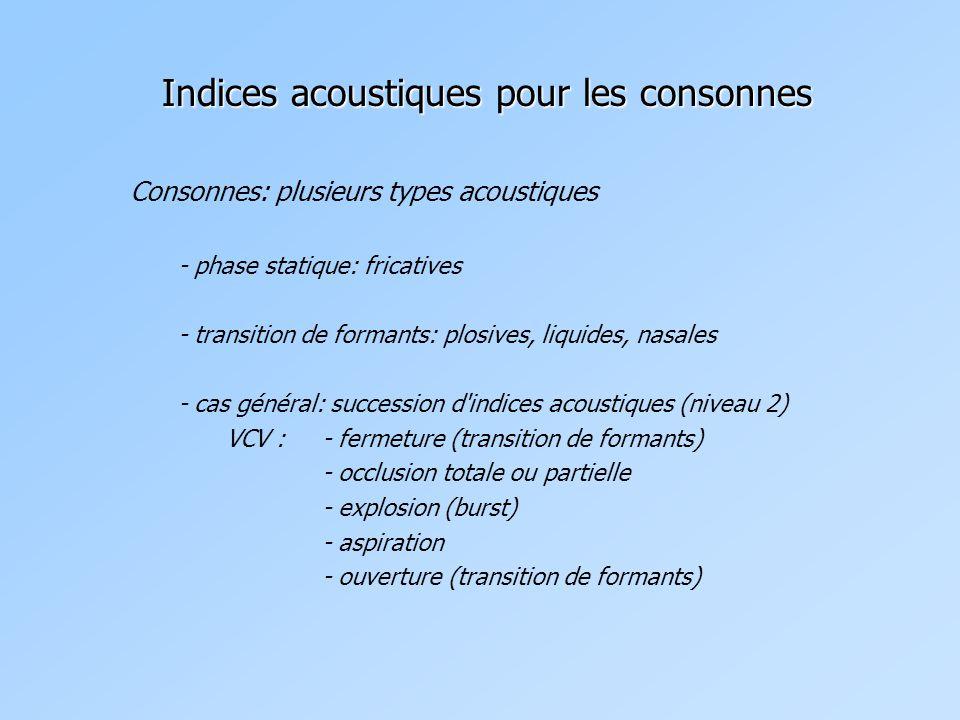 Indices acoustiques pour les consonnes