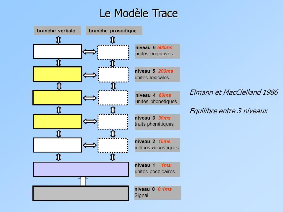 Le Modèle Trace Elmann et MacClelland 1986 Equilibre entre 3 niveaux
