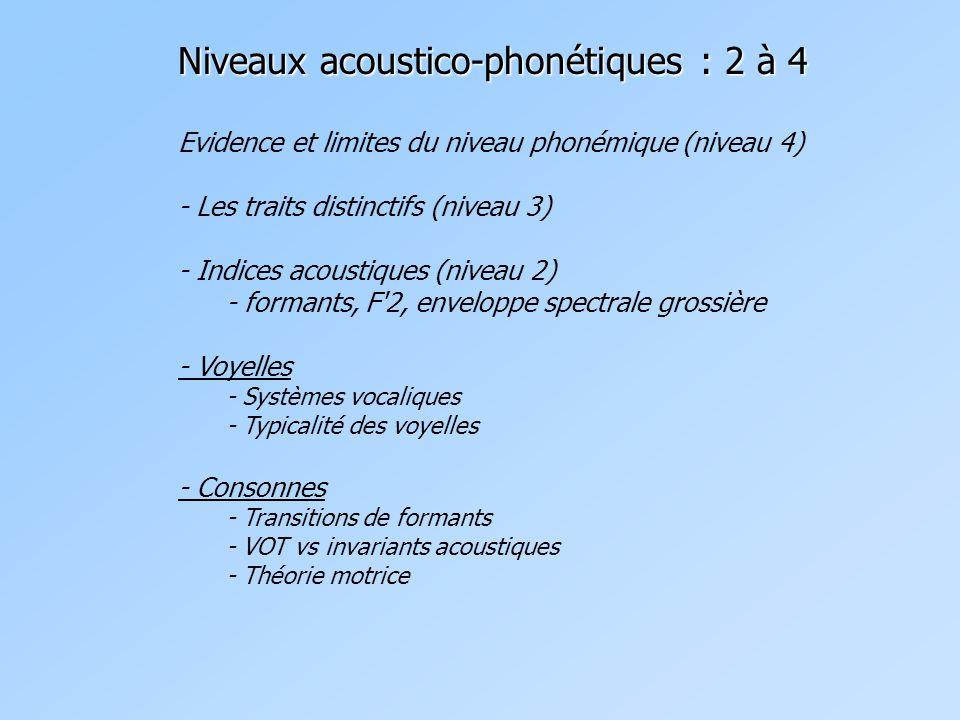 Niveaux acoustico-phonétiques : 2 à 4