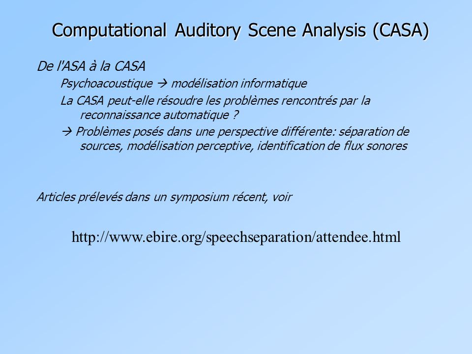 Computational Auditory Scene Analysis (CASA)