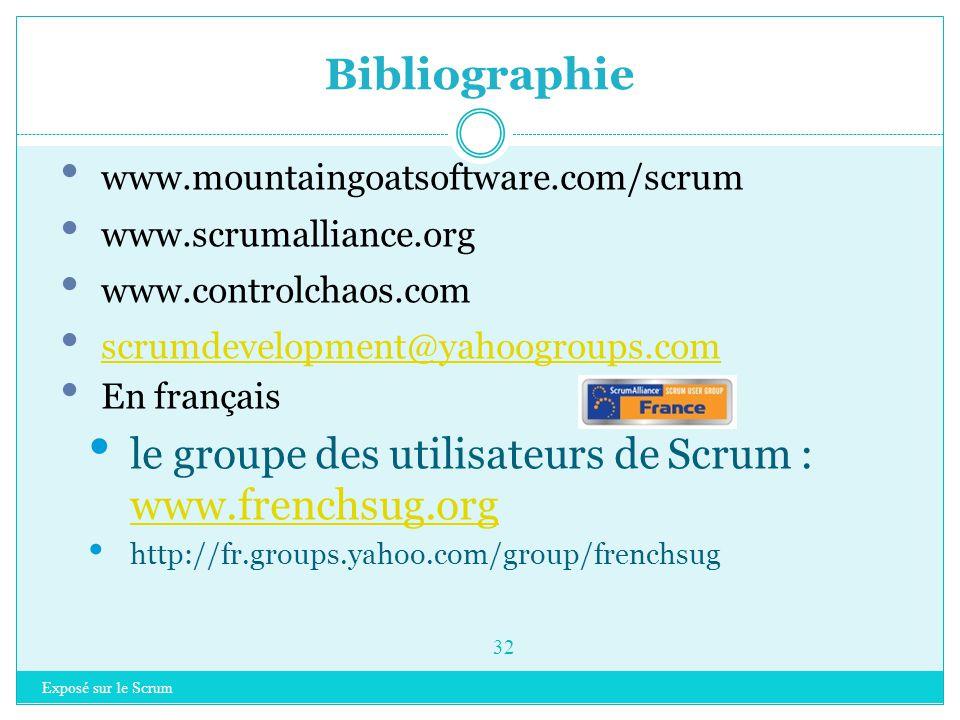 Bibliographie le groupe des utilisateurs de Scrum : www.frenchsug.org