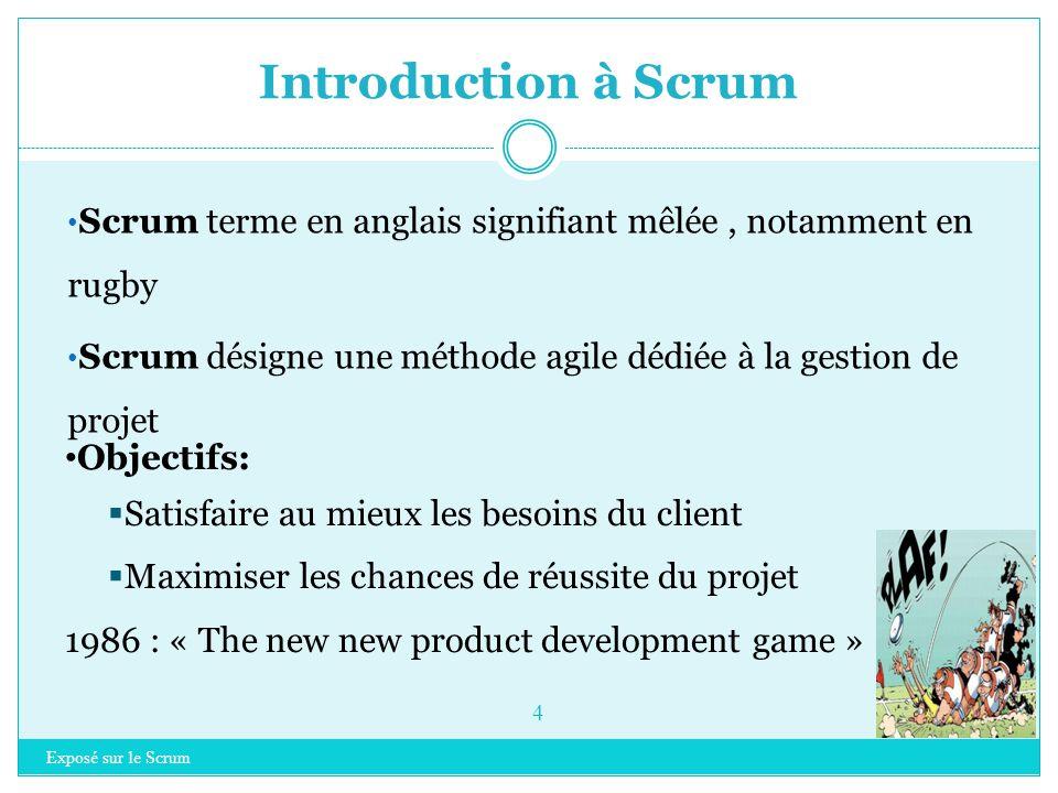 Introduction à Scrum Scrum terme en anglais signifiant mêlée , notamment en rugby. Scrum désigne une méthode agile dédiée à la gestion de projet.