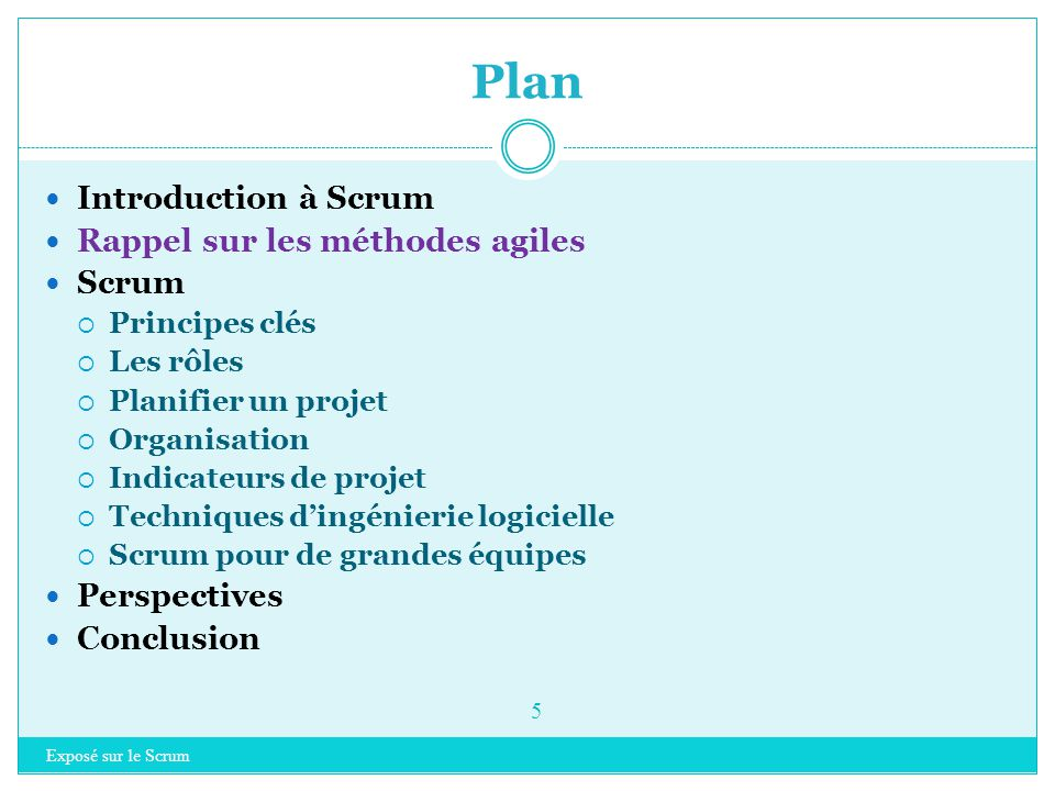 Plan Introduction à Scrum Rappel sur les méthodes agiles Scrum