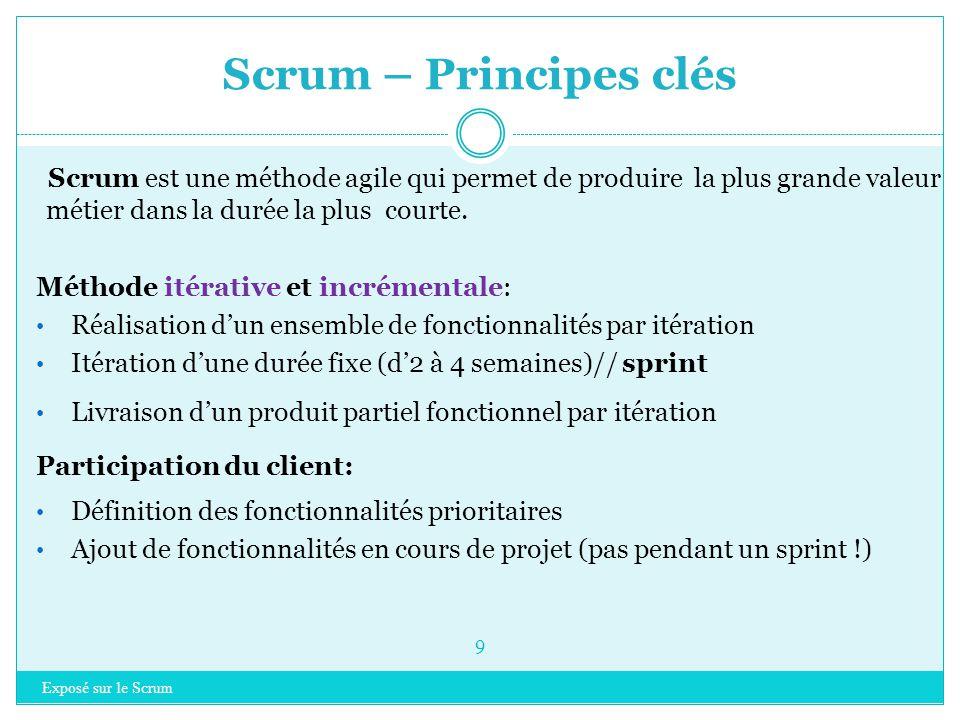 Scrum – Principes clés Scrum est une méthode agile qui permet de produire la plus grande valeur métier dans la durée la plus courte.