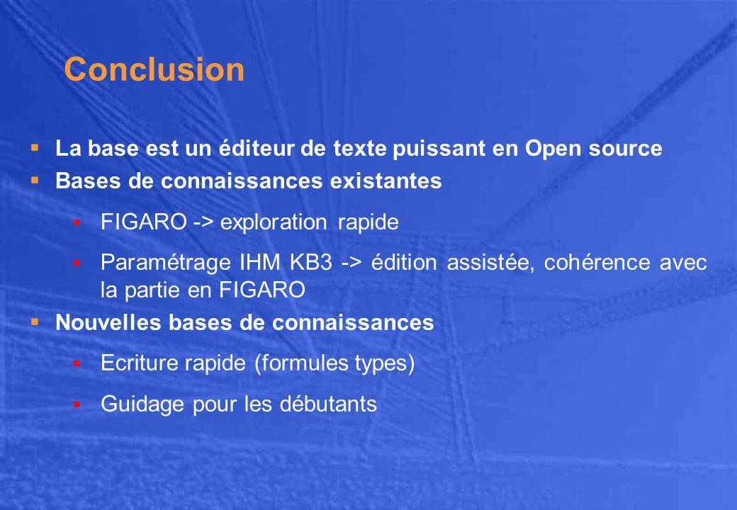 Conclusion La base est un éditeur de texte puissant en Open source