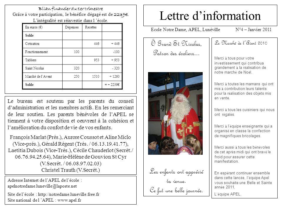 Lettre d'information Ô Grand St Nicolas, Patron des écoliers…