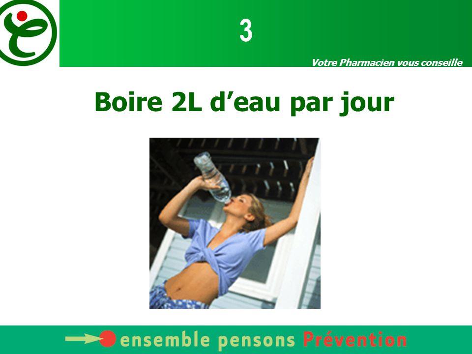 3 Votre Pharmacien vous conseille Boire 2L d'eau par jour