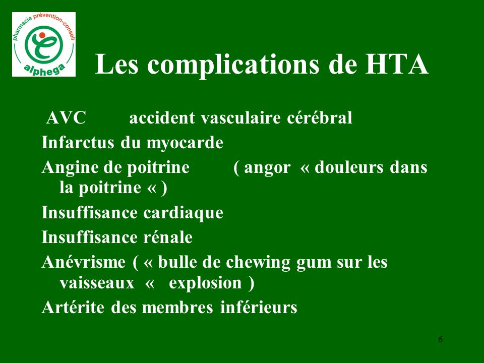 Les complications de HTA