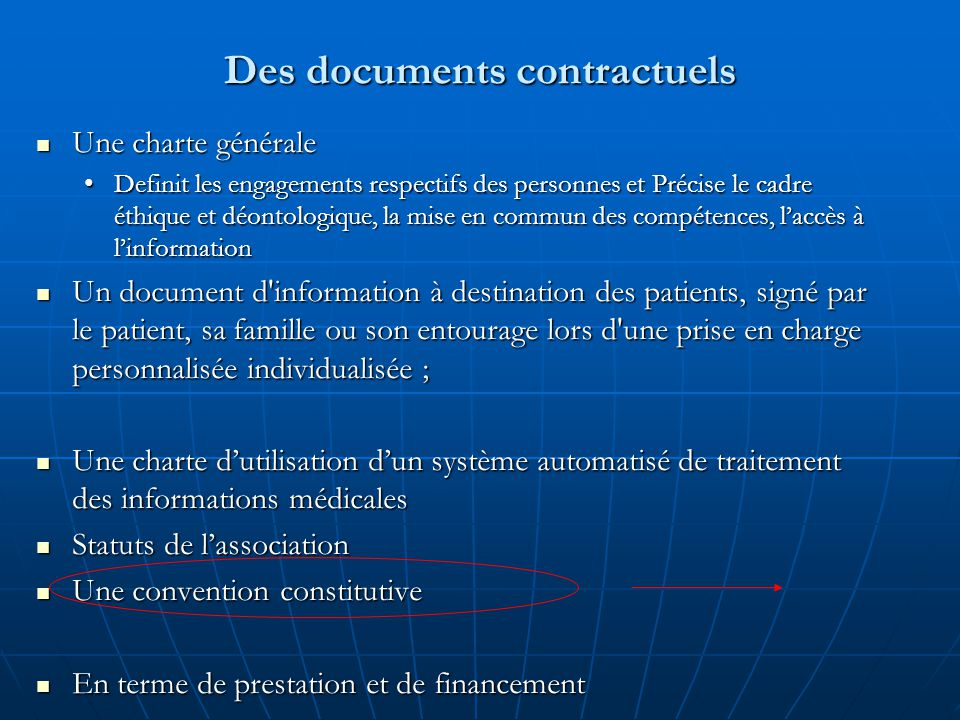 Des documents contractuels
