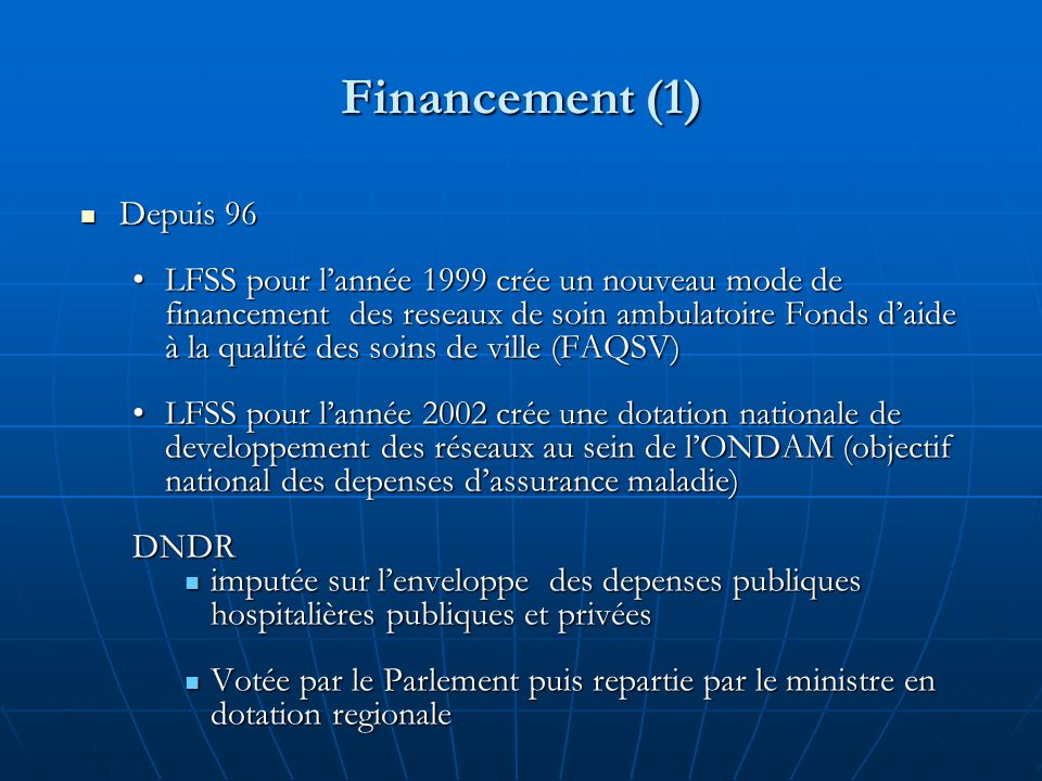Financement (1) Depuis 96.