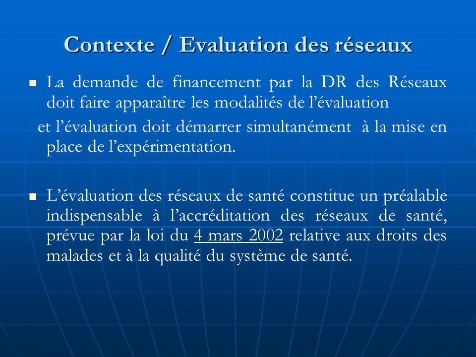 Contexte / Evaluation des réseaux