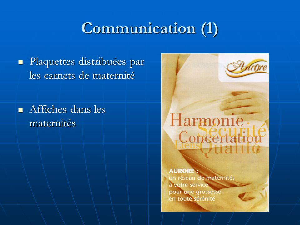 Communication (1) Plaquettes distribuées par les carnets de maternité