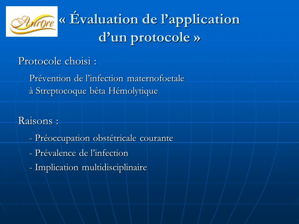 « Évaluation de l'application d'un protocole »