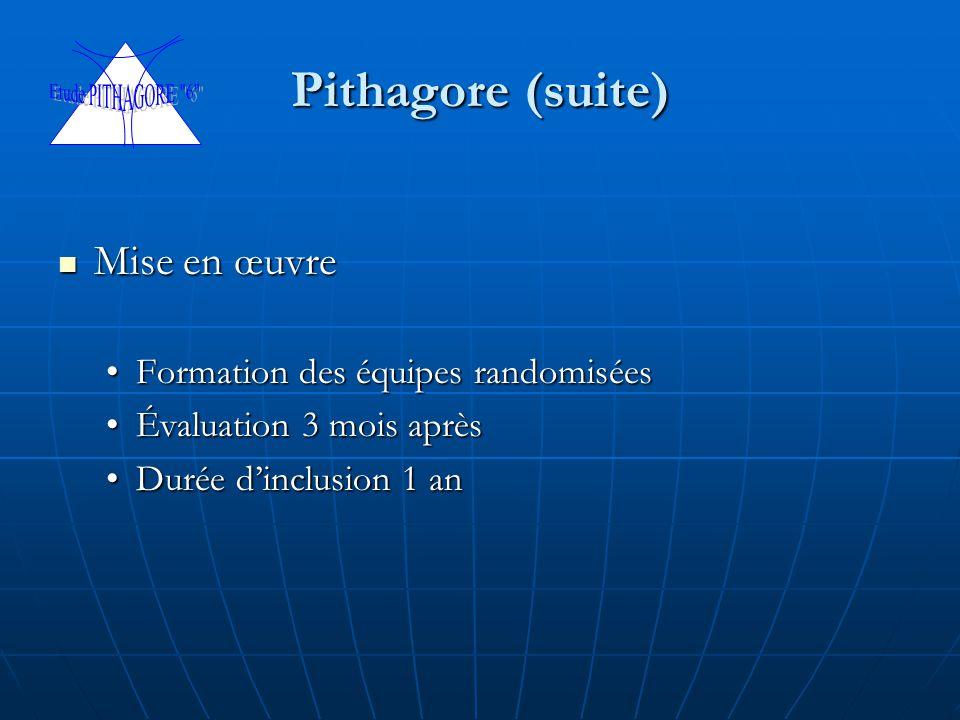 Pithagore (suite) Mise en œuvre Formation des équipes randomisées