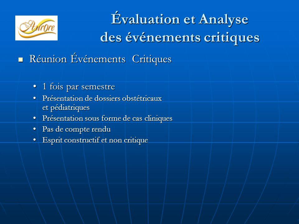 Évaluation et Analyse des événements critiques