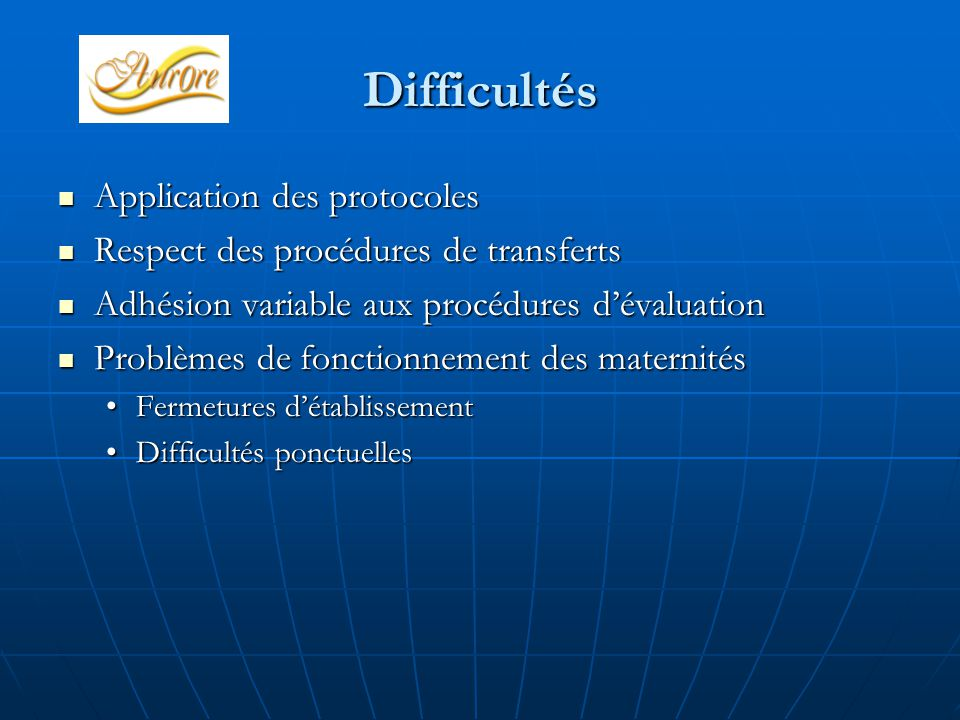 Difficultés Application des protocoles