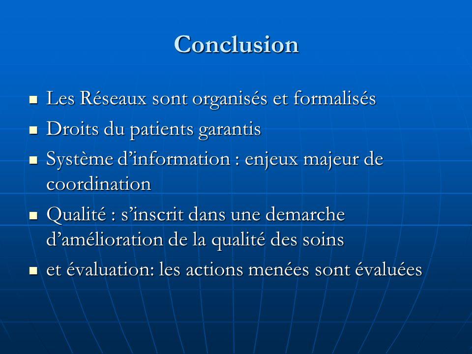 Conclusion Les Réseaux sont organisés et formalisés