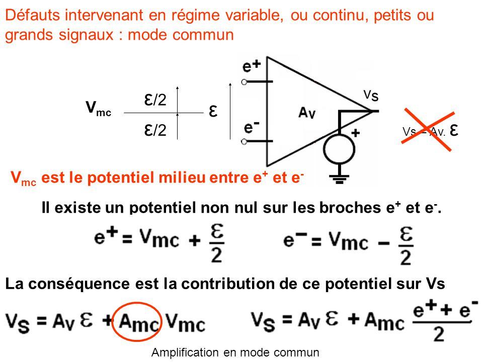 Défauts intervenant en régime variable, ou continu, petits ou grands signaux : mode commun