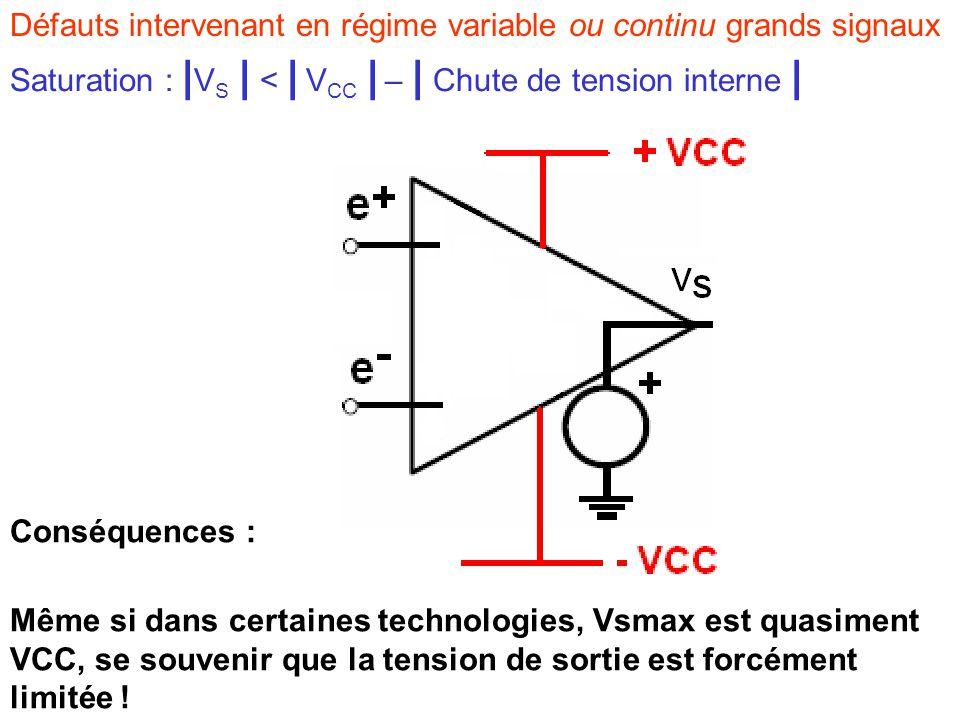 Défauts intervenant en régime variable ou continu grands signaux