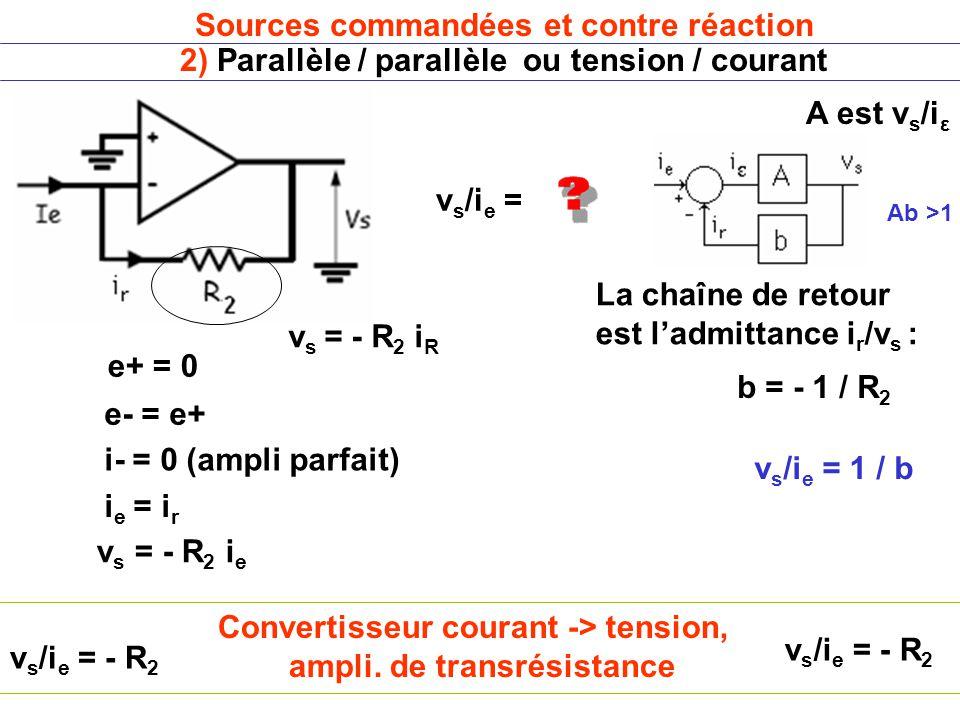Convertisseur courant -> tension, ampli. de transrésistance