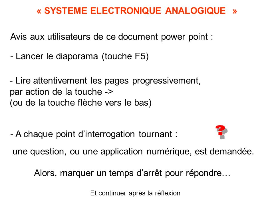 « SYSTEME ELECTRONIQUE ANALOGIQUE »