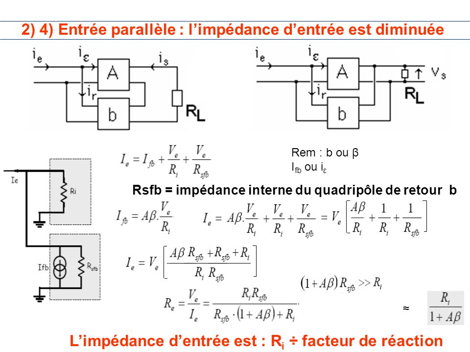 2) 4) Entrée parallèle : l'impédance d'entrée est diminuée