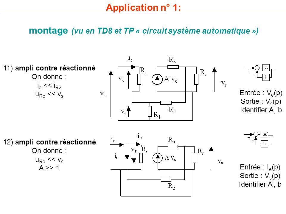 montage (vu en TD8 et TP « circuit système automatique »)