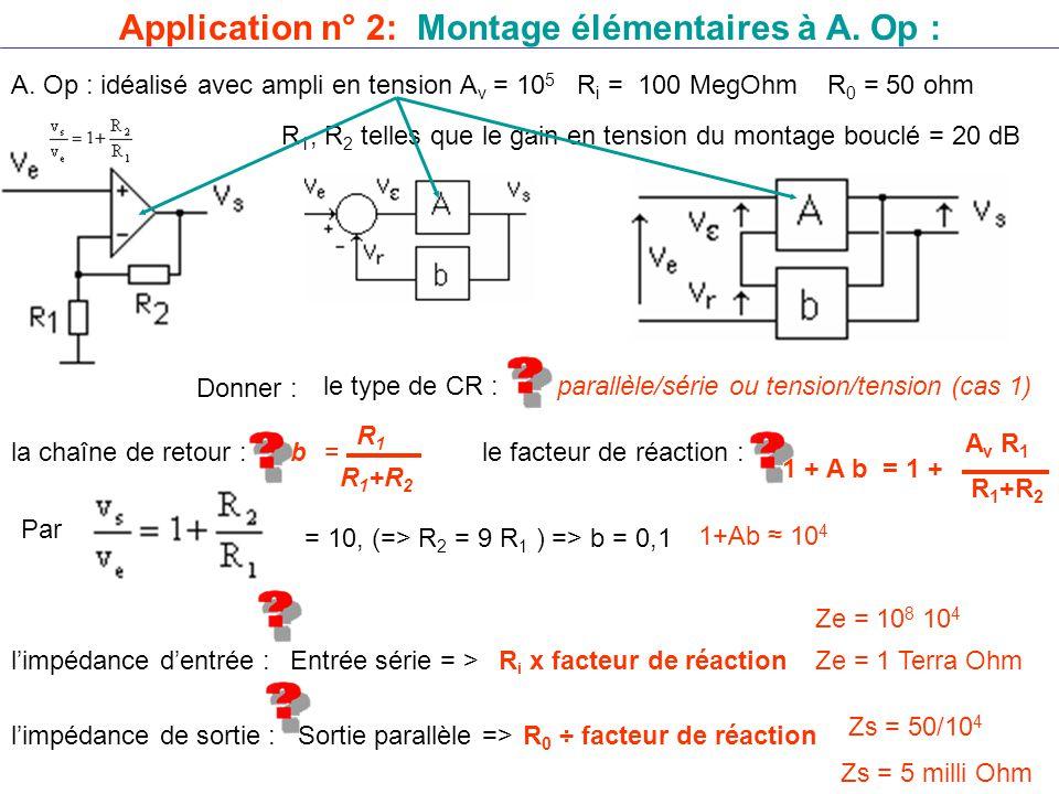 Application n° 2: Montage élémentaires à A. Op :