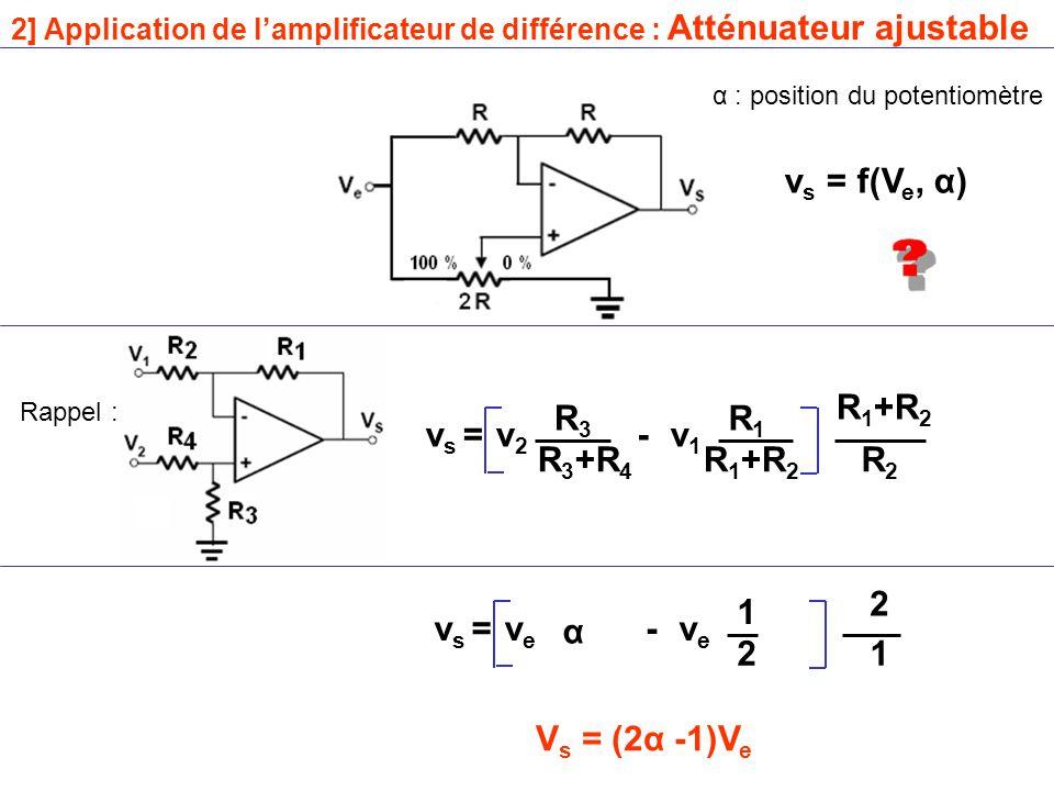 vs = f(Ve, α) R1+R2 R3 R1 vs = v2 - v1 R3+R4 R1+R2 R2 2 1 vs = ve α -