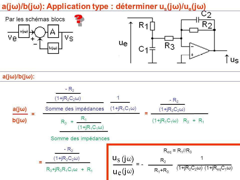 a(jω)/b(jω): Application type : déterminer us(jω)/ue(jω)