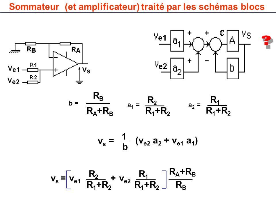 Sommateur (et amplificateur) traité par les schémas blocs