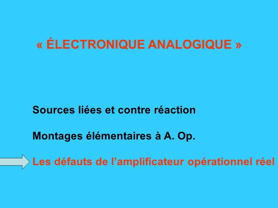 « ÉLECTRONIQUE ANALOGIQUE »