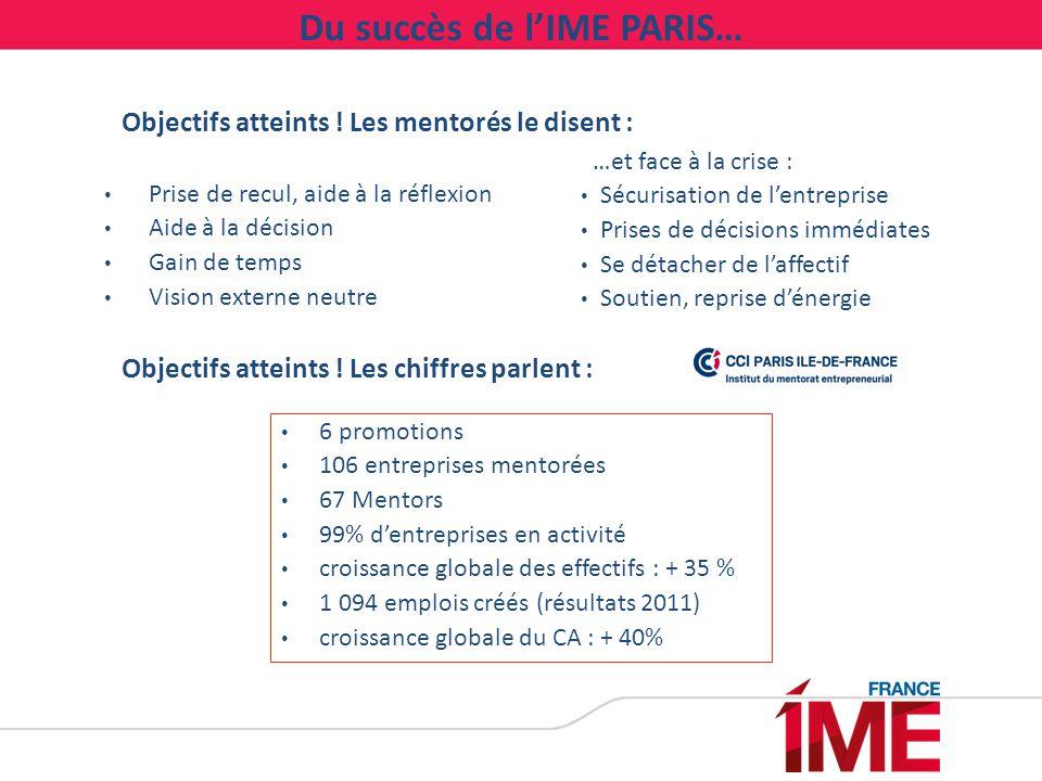 Du succès de l'IME PARIS…