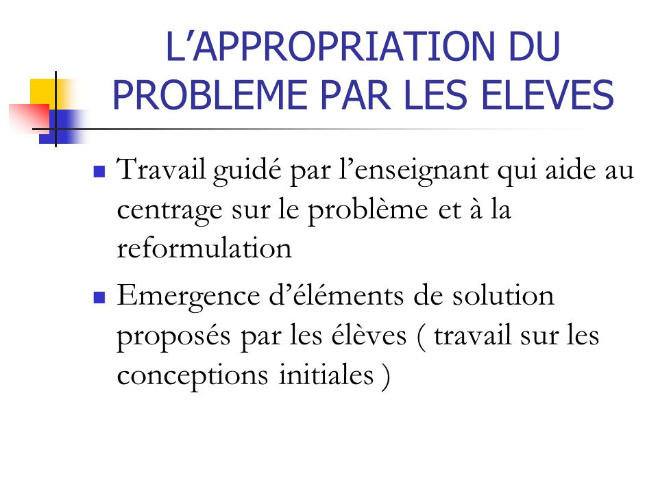 L'APPROPRIATION DU PROBLEME PAR LES ELEVES