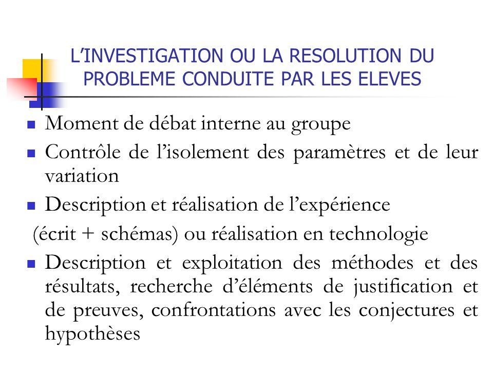 L'INVESTIGATION OU LA RESOLUTION DU PROBLEME CONDUITE PAR LES ELEVES